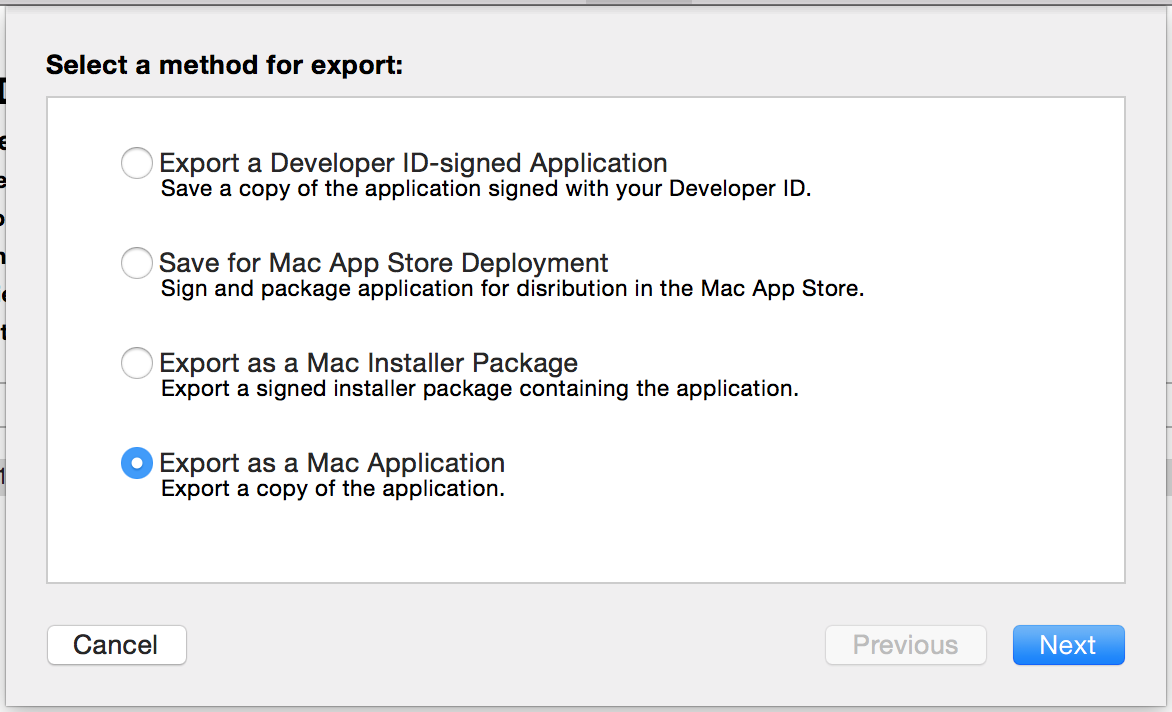 Export as Mac Application